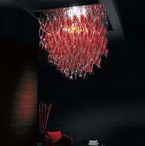 Plafoniera design originale / quadrata / in acciaio / in vetro