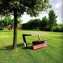 Tavolo da picnic moderno / in lamiera / rettangolare / per spazio pubblico