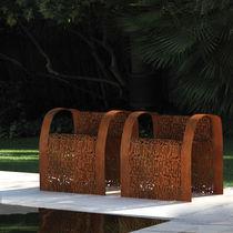 Sedia design originale / con braccioli / in acciaio galvanizzato / in acciaio COR-TEN®