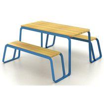Tavolo da picnic moderno / in legno massiccio / in acciaio verniciato / rettangolare