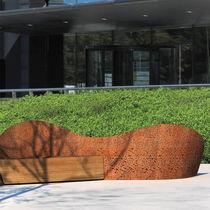 Panca pubblica / design originale / in legno / in acciaio galvanizzato