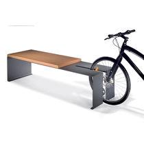 Panca con portabici integrato / pubblica / moderna / in legno esotico
