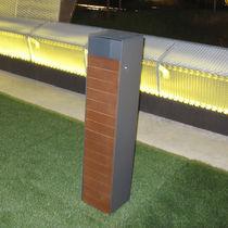 Pattumiera pubblica / in acciaio galvanizzato / in legno / moderna
