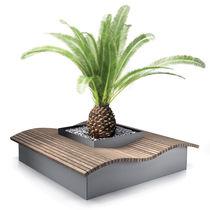Panca con fioriera integrata / pubblica / moderna / in legno esotico