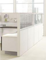 Divisorio per ufficio a pavimento / da bancone / in vetro / in legno