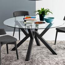 Tavolo moderno / in legno / in vetro / rotondo