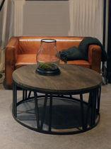 Tavolino basso classico / in legno / rotondo / da interno