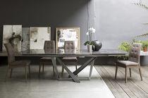 Tavolo da pranzo moderno / in metallo / in gres porcellanato / rettangolare
