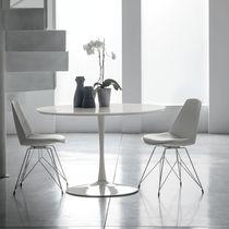 Tavolo da pranzo moderno / in metallo verniciato / in MDF laccato / in vetro temprato