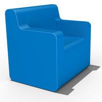 Poltrona moderna / in schiuma ad alta densità rivestita / blu