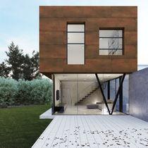 Rivestimento di facciata in gres porcellanato / lucidato / in fogli / aspetto metallo
