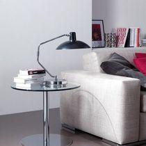 Tavolo d'appoggio moderno / in HPL / in vetro temprato / in acciaio con rivestimento a polvere