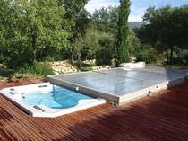 Copertura per piscina piatta / in policarbonato / a motore