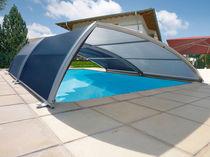 Copertura per piscina bassa / telescopica / di titanio / ad azionamento manuale