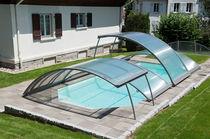 Copertura per piscina bassa / telescopica / in alluminio / a motore