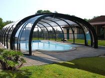 Copertura per piscina alta / telescopica / in acciaio inossidabile / ad azionamento manuale