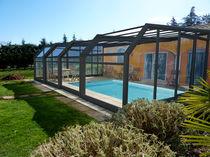 Copertura per piscina a parete / telescopica / in acciaio inossidabile / ad azionamento manuale