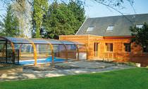 Copertura per piscina alta / telescopica / in legno / ad azionamento manuale