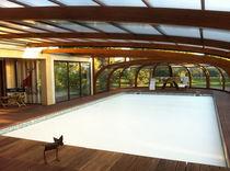 Copertura per piscina a parete / in legno / ad azionamento manuale