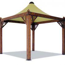 Gazebo in legno / tetto in tela / per bar / per parcheggio