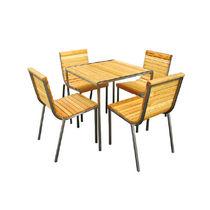 Set tavolo e sedia moderno / in legno / in acciaio inossidabile / impilabile