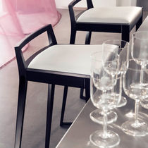 Sedia alta moderna / in legno / imbottita / a slitta