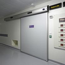 Porta industriale scorrevole / in metallo / acustica / vetrata