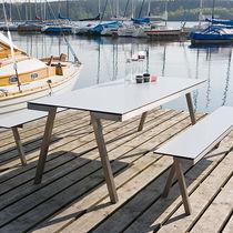 Tavolo moderno / in acciaio inossidabile / rettangolare / da giardino