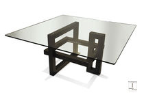 Tavolo da pranzo moderno / in vetro / in metallo verniciato / in ferro