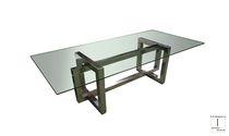 Tavolo da pranzo moderno / in acciaio / in cristallo / in acciaio inossidabile lucido
