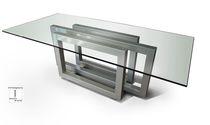 Tavolo da pranzo moderno / in cristallo / in metallo verniciato / in ferro