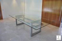 Tavolo da riunione moderno / in cristallo / in ferro / in metallo laccato