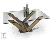 Tavolino basso moderno / in vetro / rettangolare / da interno