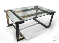 Scrivania direzionale / in metallo patinato / in acciaio inox / in vetro