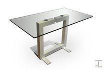 Tavolo da pranzo moderno / in vetro / rettangolare