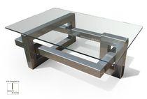 Tavolino basso moderno / in metallo / rettangolare / da interno