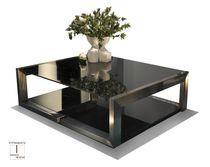 Tavolino basso moderno / in vetro / quadrato / da interno