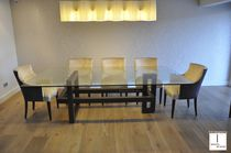 Tavolo moderno / in cristallo / rettangolare