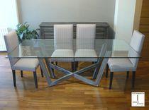 Tavolo moderno / in vetro / in acciaio inossidabile / rettangolare
