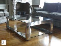 Tavolino basso moderno / in vetro / in acciaio inossidabile lucido / quadrato