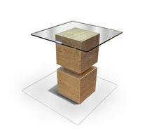 Tavolo d'appoggio moderno / in marmo / quadrato