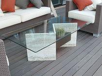 Tavolino basso moderno / in marmo / rettangolare / da esterno