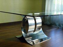 Tavolo da pranzo design originale / in vetro / in acciaio inossidabile / quadrato