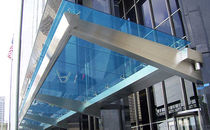 Pensilina da ingresso / in vetro / in acciaio inox
