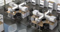 Divisorio per ufficio a pavimento / in tessuto / in metacrilato / in alluminio