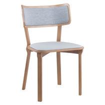 Sedia da ristorante moderna / imbottita / in tessuto / in legno