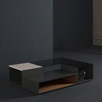 Tavolino basso moderno / in MDF laccato / in vetro fumè / in marmo