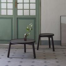 Tavolino basso moderno / in legno massiccio / in ceramica / rotondo