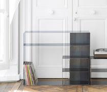 Consolle design industriale / in acciaio / in legno lucido / rettangolare