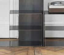 Comodino design industriale / in acciaio / in legno lucido / rettangolare